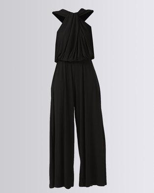 fda9a676352c Erre Twist Front Draped Jumpsuit Black