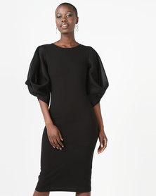 Erre Pencil Dress With Techno Mesh Sleeves Black