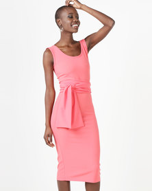 Erre Pencil Dress With Bow Belt Coral