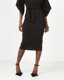 Erre Pencil Skirt With Bow Belt Black