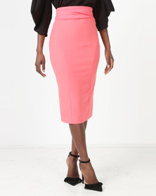 Erre Pencil Skirt With Bow Belt Coral