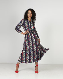 Liquorish Long Sleeve Flared Shirt Dress Navy