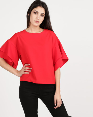 Utopia Top With Frill Sleeve Red