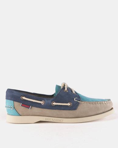 Sebago Spinnaker Shoes Nubuck Taupe Teal Navy