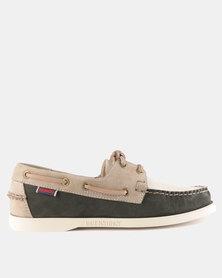Sebago Spinnaker Nubuck Shoes Beige Grey Taupe