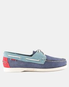 Sebago Spinnaker Nubuck Shoes Navy Blue Red