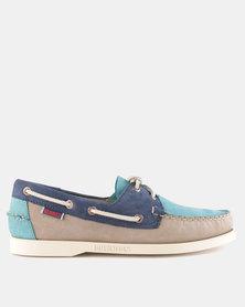 Sebago Spinnaker Nubuck Shoes Taupe Teal Navy