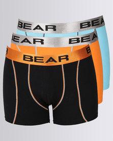 Bear 3pk Contrast Coverseam Bodyshorts Orange/Blue/Black