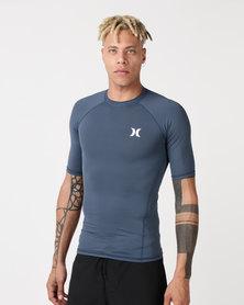 Hurley Pro Light Top Short Sleeve Rash Vest Blue