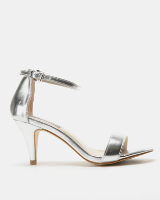 Utopia Strappy Heeled Sandals Silver