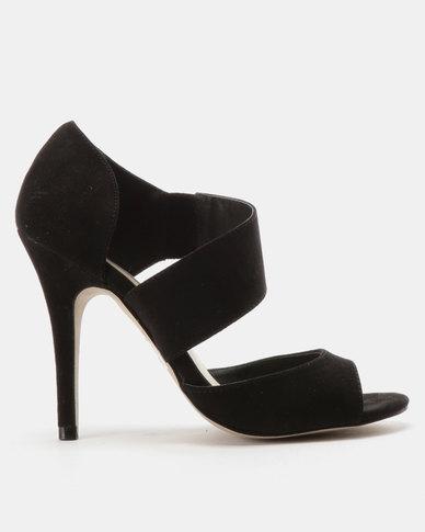 Utopia Vamp Strap Heeled Sandals Black