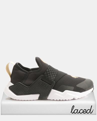 7c50304d85e1ff Nike Kids Huarache Extreme Sneakers Black White Gold