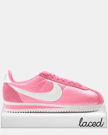 Nike Women's Classic Cortez Nylon Laser Sneakers Pink/White