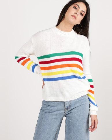 Daisy Street Multi Colour Stripe Jersey Cream