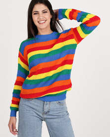 Daisy Street Green Rainbow Stripe Sweater Multi
