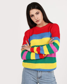 Daisy Street Red Rainbow Stripe Sweater Multi