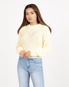 Daisy Street Crew Neck Knit Yellow