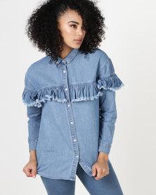 Daisy Street Denim Frilled Shirt