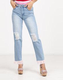 Daisy Street Frill Jeans Blue