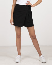 Daisy Street Wrap Skirt Black