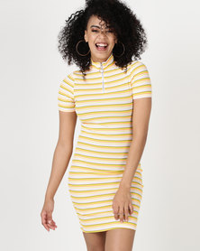 Daisy Street Striped Dress Orange