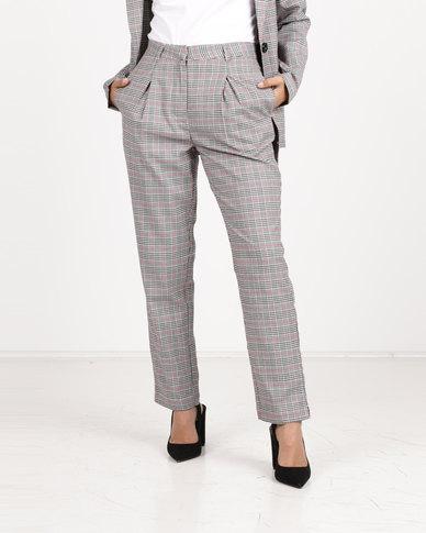 Daisy Street Check Trousers  Grey