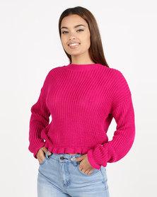 Daisy Street Crew Neck Knit Pink