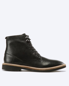 Frank Wright Munros Leather Lace Up Boots Black