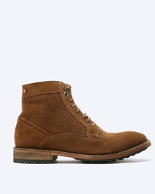 Frank Wright Acton Suede Leather Boots Rust