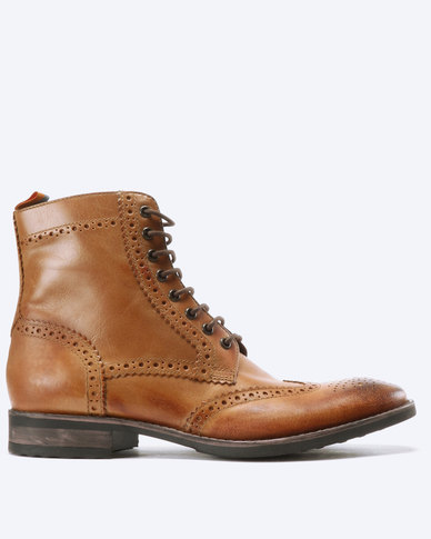 63d86799fc0 Frank Wright Cypress Leather Brogue Boots Tan
