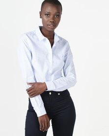 Polo Victoria Long Sleeve Stripe Oxford Shirt Light Blue