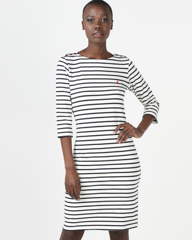 1e5810d18aef8 Polo Jade 3 4 Sleeve Stripe Dress Off White   Zando
