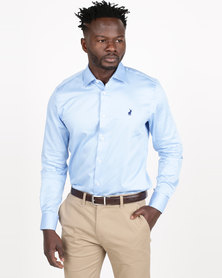 Polo Mens Custom Fit Signature Long Sleeve Shirt Light Blue
