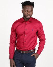 Polo Mens Custom Fit Signature Long Sleeve Shirt Crimson
