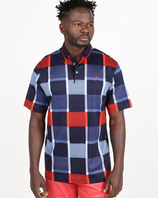 Polo Mens Premium Printed Short Sleeve Golfer Navy