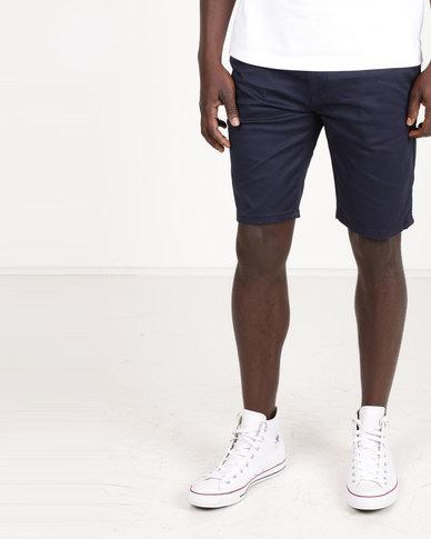 Polo Milano Stretch Chino Shorts Navy