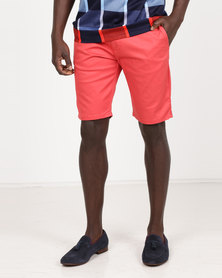 Polo Milano Stretch Chino Shorts Salmon