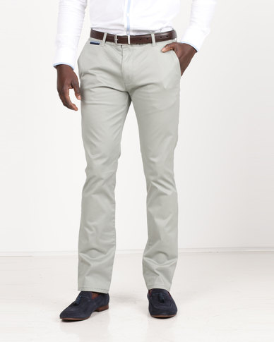 Polo Milano Stretch Chinos Straight Leg Olive