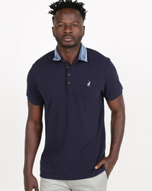 Polo Jeans Co Men's Short Sleeve Denim Collar Golfer Navy
