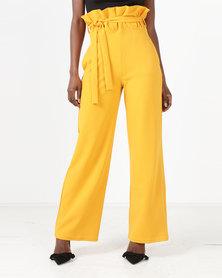 Brett Robson Samantha Paperbag Waist Wide Leg Pants Mustard