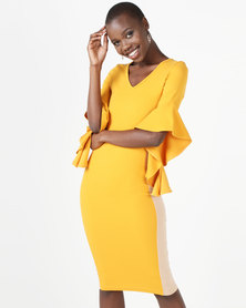 Brett Robson Kita Frill Sleeve Bodycon Dress Mustard