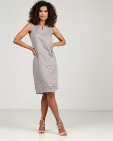 Blu Spiral Sleeveless Linen dress Taupe