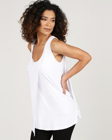 Blu Spiral Tank Top With Overlap White