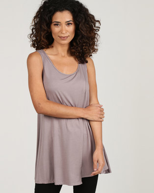 abf699f56b4f7 Blu Spiral Tank Top With Overlap Taupe