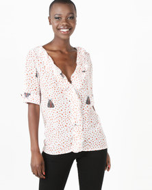African Style Story Petals Blouse White