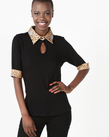 African Style Story Top With Collar Black