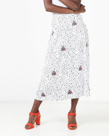 African Style Story Skirt With Pleats White