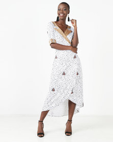 African Style Story Printed Wrap Dress White