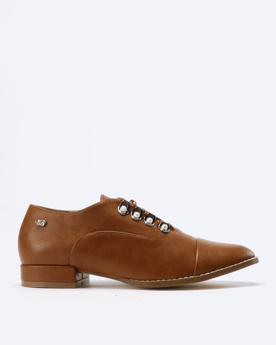 Miss Black Maha Lace Up Shoes Tan