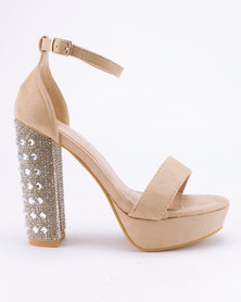 Miss Black Pola Platform Sandals Nude